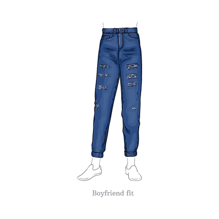 Vector boyfriend fit style blue jeans. Denim female pants sketch icon. Casual fashion trousers, trendy garment for women. Urban fabric apparel, fashionable blue clothing. Isolated illustration