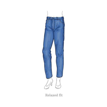 Vector de estilo de ajuste relajado blue jeans. Icono de esbozo de pantalones de mujer de mezclilla. Pantalones de moda casual, prenda de moda para mujer. Ropa de tejido urbano, ropa azul de moda. Ilustración aislada