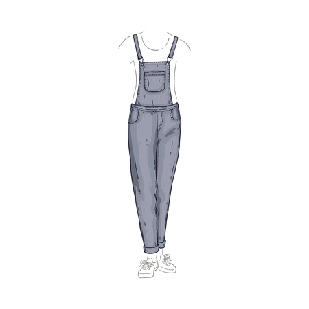 Vector overalls style grey jeans. Denim female pants sketch icon. Casual fashion trousers, trendy garment for women. Urban fabric apparel, fashionable blue clothing. Isolated illustration