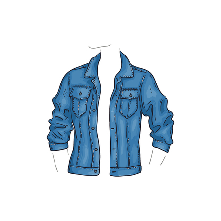 Vector blue jean jacket with pockets. Denim female shirt sketch icon. Long sleeve casual fashion cloth, trendy garment for women. Urban fabric apparel, fashionable blue clothing. Isolated illustration Illustration