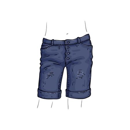 Vector blue jean shorts. Denim female summer pants sketch icon. Casual fashion trousers, trendy garment for women. Urban fabric apparel, fashionable blue clothing. Isolated illustration Ilustração Vetorial