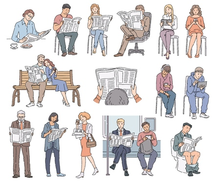 Set of people reading newspaper, collection of cartoon characters men and women who read news in different poses, clothes and situations, isolated vector illustrations on white background