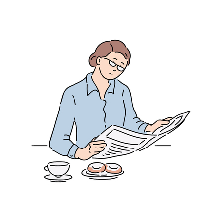 Woman reading newspaper article, adult businesswoman with glasses does sit and read news during breakfast, hand drawn cartoon comic character isolated vector illustration on white background Ilustracja