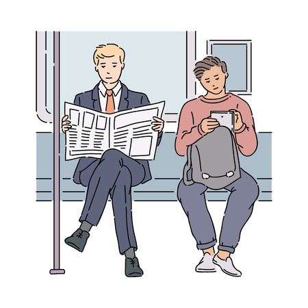 Two men in subway reading newspaper and using tablet, different people using media on transport, male commuters sitting on train, cartoon sketch vector illustration isolated on white background Illustration