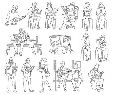 Conjunto de personas que leen periódicos y miran la tecnología en diferentes lugares y posiciones. Hombres y mujeres leyendo noticias, libro para colorear aislado ilustración vectorial en blanco y negro en blanco.