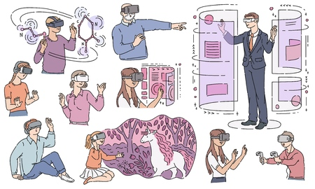 Vector people wearing virtual reality headset set. Adult woman, businessman, old man and kids in VR goggless enjoying cyberspace in simulation. Modern visual technologies