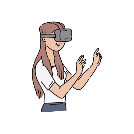 Vector flat young girl in virtual reality headset pointing something out with surprised facial expression. Smiling female character in VR goggless enjoying cyberspace. Modern visual technologies 向量圖像