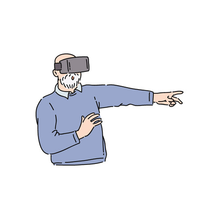Vector flat senior man in virtual reality headset pointing something out by finger. Elderly male character in VR goggless enjoying cyberspace. Modern visual technologies concept.