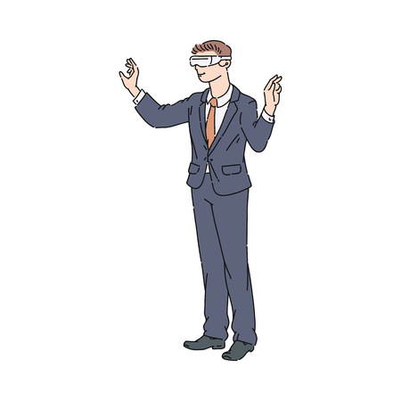 Vector flat businessman in virtual reality headset manipulating virtual objects. Male character in VR goggless enjoying cyberspace. Modern visual technologies concept. 向量圖像