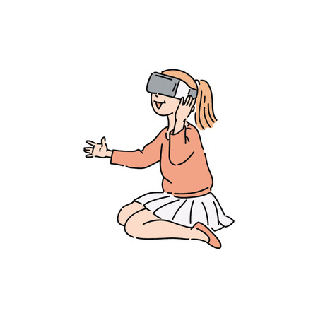 Vector flat young girl kid sitting in virtual reality headset exploring with surprised facial expression. Smiling female character in VR goggless enjoying cyberspace. Modern visual technologies