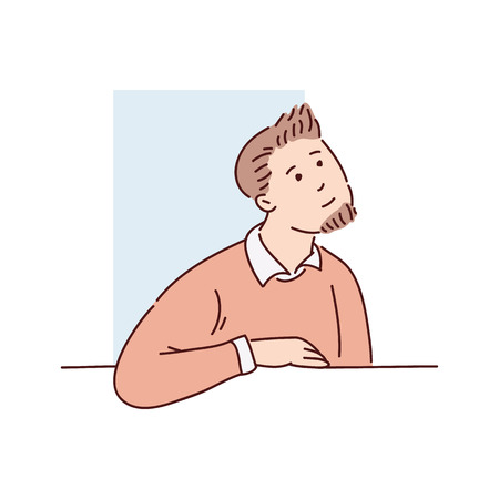 A young brown haired man in a sweater and shirt looks out of the window from behind. Rectangular blue shape on a white background, isolated vector illustration in flat cartoon style. 스톡 콘텐츠 - 122280410