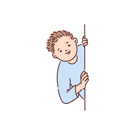 A boy, teenager, or child in a blue sweater looks out from behind a wall or window and smiles. Isolated vector illustration in flat cartoon style on white background. 스톡 콘텐츠 - 122280412