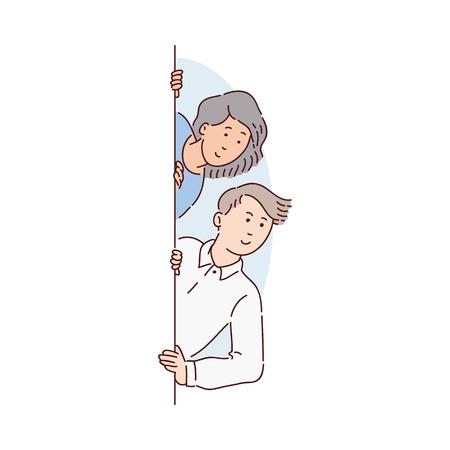 Una coppia di persone, un giovane uomo e una donna, che sbirciano e guardano da dietro una finestra o un muro e sorridono. Illustrazione femminile isolata in stile cartone animato piatto.