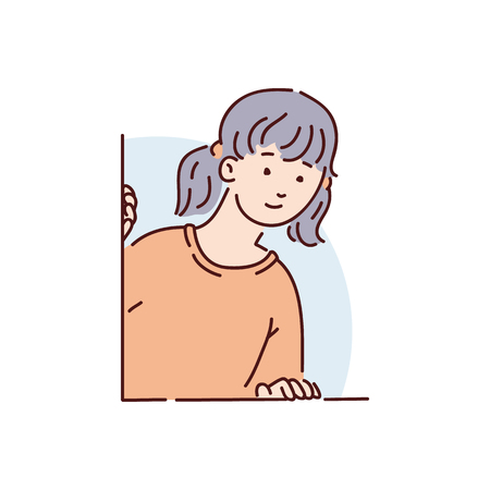 A young brunette girl, woman or teenager in a red sweater peeks and looks curiously out of the window at the back, vector illustration. Stock Illustratie