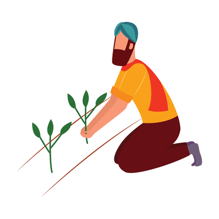 Indian farmer man kneeling and holding crop plant flat cartoon style, vector illustration isolated on white background. Male in traditional clothes and turban working in agricultural field