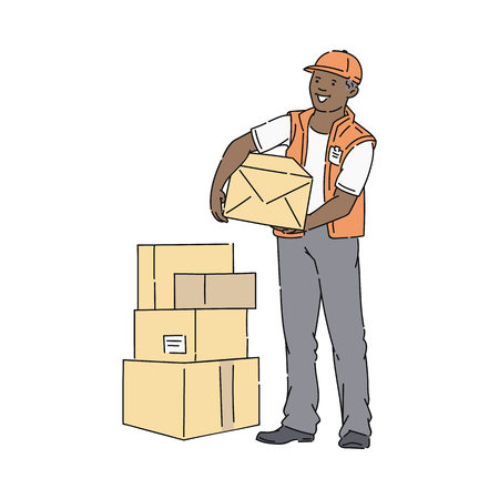 African man in cap and vest stands holding box at stack of parcels sketch style, vector illustration isolated on white background. Warehouse worker or delivery male or loader or courier