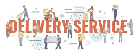 Flat style couriers holding loading or carrying cardboard boxes and other goods vector illustration banner template on white background. Moving and delivery company concept.