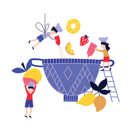 Small people - children - cooking fruit dish in huge bowl flat cartoon style, vector illustration isolated on white background. Little girls and boy preparing oversize food, teamwork concept Illustration