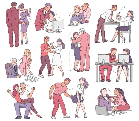A set of situations of sexual harassment and abuse, violence and bullying between men and women in the workplace in the office and on the street. Vector comic cartoon illustration.