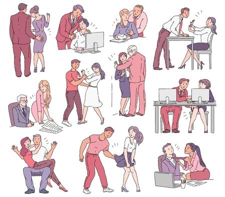 Zestaw sytuacji molestowania i wykorzystywania, przemocy i zastraszania między mężczyznami i kobietami w miejscu pracy w biurze i na ulicy. Ilustracja kreskówka komiks wektor.
