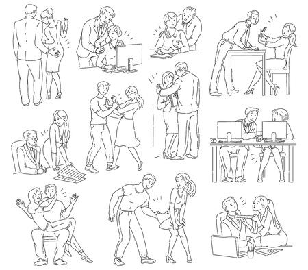 Un conjunto de problemas de discriminación de abuso y acoso, intimidación y violencia entre hombres y mujeres, ilustración de dibujos animados cómico de contorno vectorial.