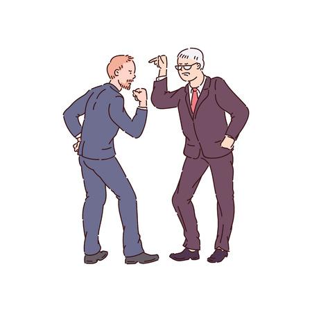 Aggressive Männer in Konflikt und zeigen Aggressionsvektorillustration lokalisiert auf weißem Hintergrund. Konzept von Gewalt und Grausamkeit zwischen Menschen und Problemen der Gesellschaft.