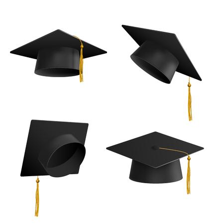 Vektor-Abschlusskappe mit Quaste, realistischer Mörtelbrettsatz. Symbol für den Erhalt eines Hochschulabschlusses oder eines Wissenschaftsdiploms. Akademieleistung, Zeichen der Bildungszeremonie. Isolierte Abbildung