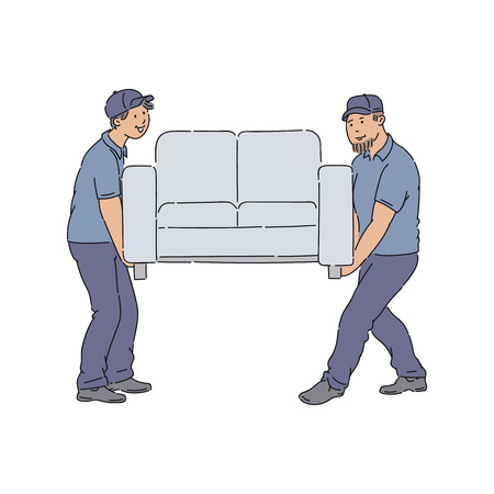 Delivery people moving a couch, young service men with uniforms delivering a new sofa to home. Professional furniture mover workers together, isolated cartoon style vector illustration Illustration