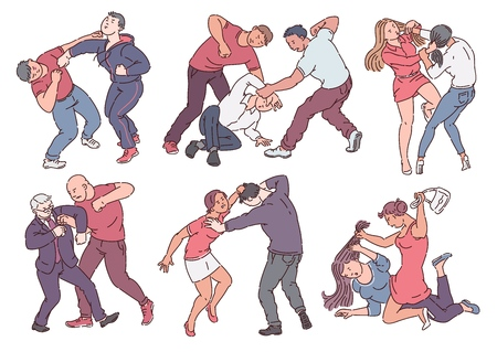 Set of aggressive people during fight actions sketch style, vector illustration isolated on white background. Collection of angry men and women hitting and beating each other