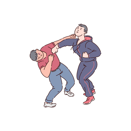 Two men fist fight, angry people in conflict action, male bully attack on victim, self defence hit on face. Aggressive violence drawing in cartoon characters, isolated vector illustration.