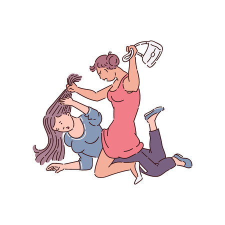 Girl fight between two women, drawing of female quarrel of angry people, aggressive bully attack helpless victim on ground, pulling hair and hitting with bag, flat isolated vector illustration