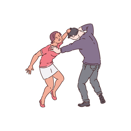 Woman attacking a man, hair pulling and bullying by female abuser, physical conflict between husband and wife, isolated vector illustration on white background Vettoriali