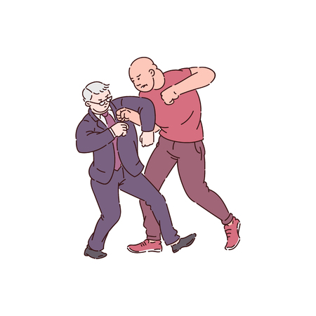 Two men in fight action, strong angry man attack on old businessman, physical conflict between customer and worker. Hand drawn cartoon style isolated vector illustration. Stock Illustratie