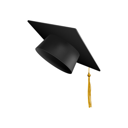 Graduation university or college black cap 3d realistic vector illustration isolated on white background. Element for degree ceremony and educational programs design.