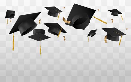 Czapki uniwersyteckie lub kolegium latają w powietrzu w chwili celebracji wektor ilustracja na przezroczystym tle. Szablon transparentu na ceremonię ukończenia szkoły.
