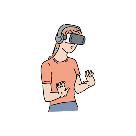 Vector flat young girl in virtual reality headset exploring something with surprised facial expression. Smiling female character in VR goggless enjoying cyberspace. Modern visual technologies concept.