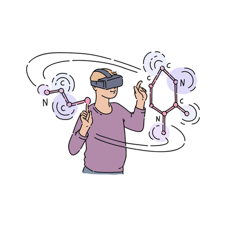Vector flat young man in virtual reality headset with virtual chemistry reactions. Male character student in VR goggless studying science in cyberspace. Modern visual technologies in education 向量圖像