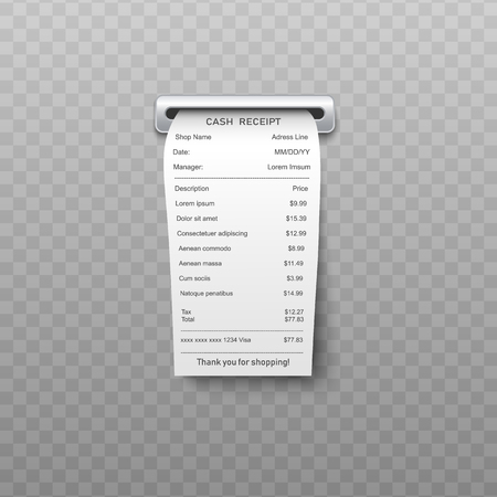 White paper bill or bank atm dispenser invoice going out from slit in realistic vector illustration. Shopping receipt or retail ticket isolated on transparent background. Stock Illustratie