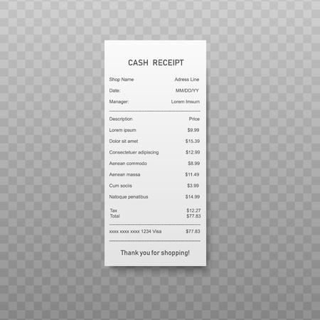 Factura de pago en papel o recibo en efectivo con lista de compras en estilo realista. Ilustración de vector de cheque financiero blanco, boleto de compra o factura aislada sobre fondo transparente.