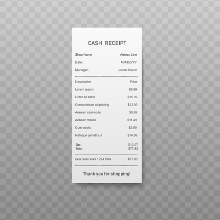 Paper paying bill or cash receipt with list of purchasing in realistic style. Vector illustration of white financial-check, shopping ticket or invoice isolated on transparent background.
