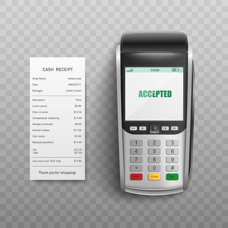 Pos terminal que confirma la transacción con tarjeta de débito o crédito y factura en papel aislada sobre fondo transparente - ilustración vectorial realista del concepto de pago electrónico exitoso. Ilustración de vector