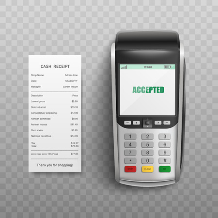 Pos terminal confirming transaction by debit or credit card and paper bill isolated on transparent background - realistic vector illustration of successful electronic payment concept.