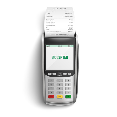 Bankowy terminal pos do płatności za zakupy w sklepie lub supermarkecie kartą kredytową lub debetową i papierowym pokwitowaniem gotówki w realistycznej ilustracji wektorowych na białym tle - koncepcja udanej transakcji elektronicznej.