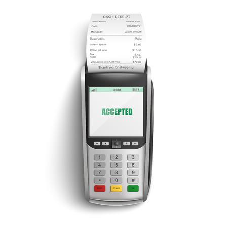 Terminale POS bancario per il pagamento degli acquisti in negozio o supermercato con carta di credito o di debito e ricevuta cartacea in un'illustrazione vettoriale isolata realistica - concetto di transazione elettronica di successo.