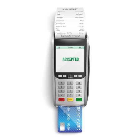 Making successful payment for purchases in shop or supermarket by credit card through POS terminal in realistic style - isolated vector illustration of bank reader with paper cash receipt.