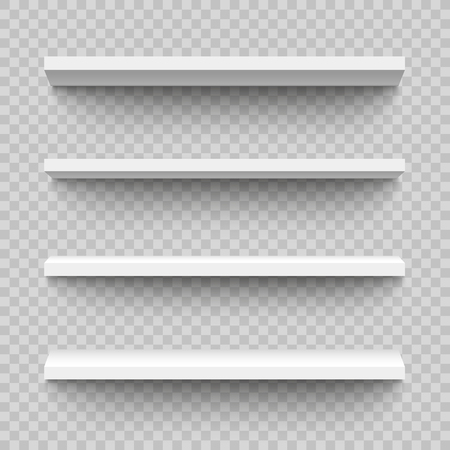 Set of empty and blank realistic 3d white shop shelf, retail or bookshelf. Realistic rectangular empty plastic or wood shelves, store wall display, vector illustration on transparent background.