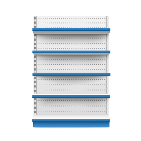Empty retail booth stand wide white and blue mockup isolated on white background. Supermarket product advertising blank and POS display mockup front view vector illustration.