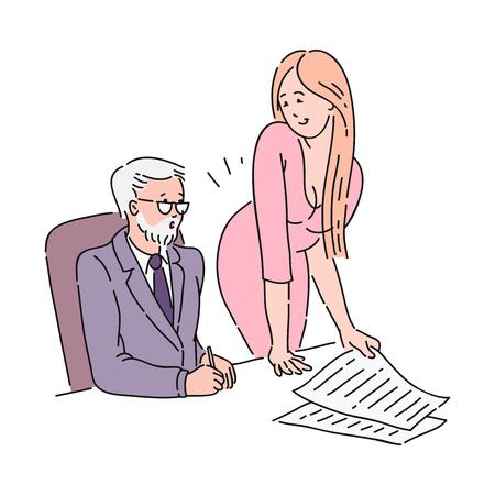 Een jong aantrekkelijk roodharig meisje valt haar oude collega of baas op kantoor seksueel lastig. Seksuele intimidatie op kantoor, cartoon vectorillustratie.