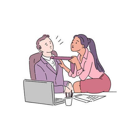 A young dark skinned woman sits on an office desk and pulls a colleague man to his tie. Sexual harassment in the office at work, violence and abuse, vector cartoon illustration.