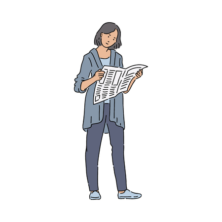 Urban woman reading newspaper interested in world global problems and news. Ordinary modern girl in casual look holding newspaper cartoon sketch vector illustration isolated on white. Ilustrace